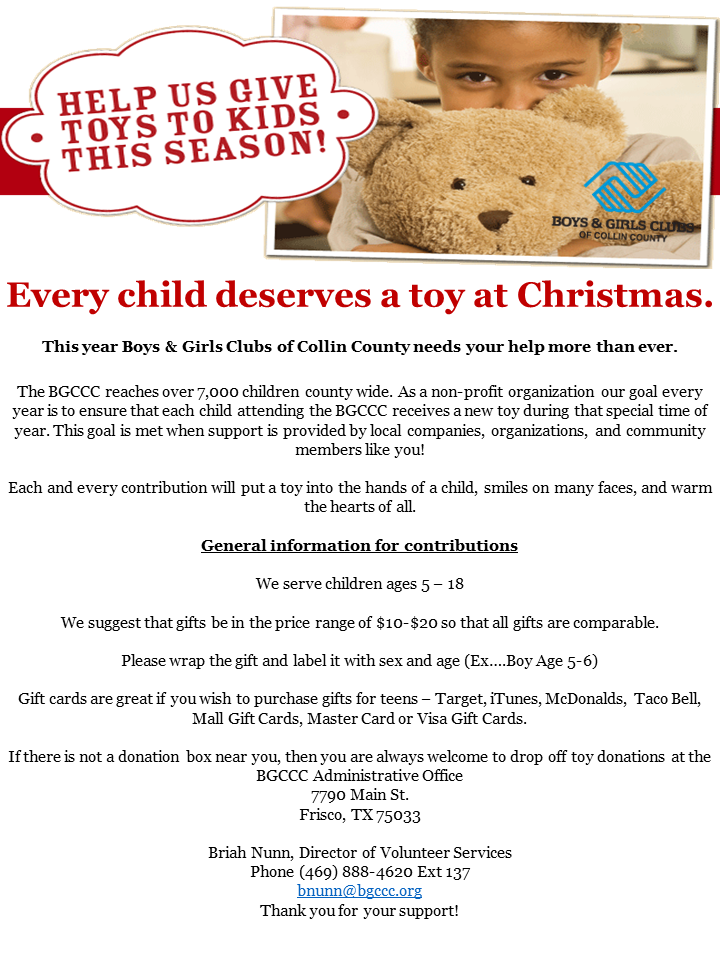Every child deserves a toy at Christmas - Boys & Girls Clubs of ...